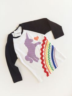 Rainbow Unicorn Shirt 3/4 length sleeve Raglan Baseball T girls. $35.00, via Etsy. Wish i had a girl!