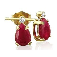 1 1/4ct Pear Ruby and Diamond Earrings in 14k Yellow Gold SuperJeweler. $97.99. All purchases from SuperJeweler come with The SuperJeweler Lifetime Guarantee. Your SuperJeweler jewelry purchase includes a lifetime guarantee against the loss of side stones or damage to the jewelry's setting or center stone. It also includes a one-year replacement guarantee against the loss of your jewelry's center stone.. Crafted In Solid 14 Karat Yellow Gold. Gemstone :. Color/C...
