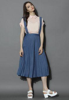 Chic Pleats Suspender Denim Midi Skirt in Navy - New Arrivals - Retro, Indie and Unique Fashion