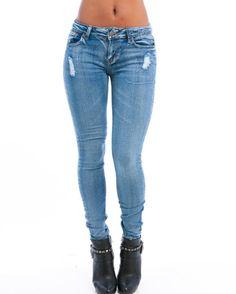 MOD 20 Women's Wash Destroyed Skinny Jeans