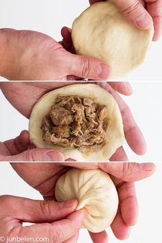 Steamed Pork Buns- For the dough 1 package active or instant yeast, about teaspoon 1 cup lukewarm water 2 tablespoons canola oil, more for greasing a large bowl 3 cups all purpose flour 2 tablespoons sugar 2 teaspoons baking powder Easy Filipino Recipes, Filipino Dishes, Filipino Desserts, Asian Recipes, Filipino Food, Steamed Pork Buns, Fried Pork, Siopao Recipe, Pinoy Recipe