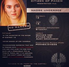 Citizen of Panem Registration File : Madge Undersee