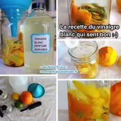 Voici un truc tout simple pour que votre vinaigre blanc sente bon. Adieu la vieille odeur de cornichon qui pique le nez :-)  Découvrez l'astuce ici : http://www.comment-economiser.fr/recette-pour-que-vinaigre-blanc-sente-bon.html?utm_content=buffere255e&utm_medium=social&utm_source=pinterest.com&utm_campaign=buffer