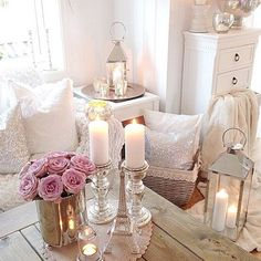 Shabby chic bedroom inspiration , I think the light colours give a really open feel to the room . But to keep it warm I would add candles and just for a splash of personality and colour some roses.