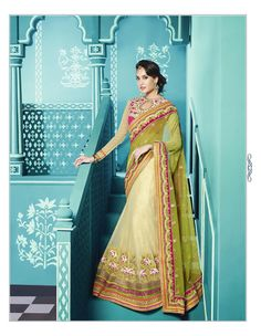 Lisa Haydon Green Net Wedding Lehenga Saree 61591