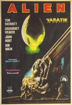 Alien is a 1979 British-American science fiction horror feature film directed by Ridley Scott from a screenplay written by Dan O'Bannon, based on a storyline co-written with Ronald Shusett. Alien 1979, Alien Film, Alien Art, Horror Movie Posters, Cinema Posters, Movie Poster Art, Horror Movies, Film Posters, Fiction Movies