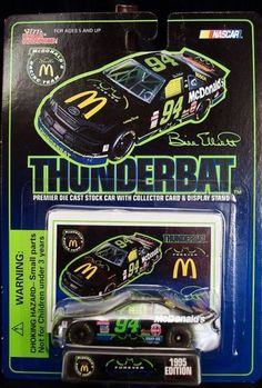Racing Champions Bill Elliott McDonalds McDonalds Batman Forever Thunderbat by Racing Champions. $8.95. made of diecast. 1/64 Scale. made in 1995. Ford Thunderbird. collector card with display stand. a crease at the top of the package which is noticeable.