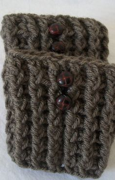 Brown Ribbed Crochet Boot Cuffs Boot Toppers Chunky by RuehLoo, $20.00