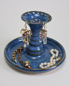 Blue pottery earring holder and jewelry
