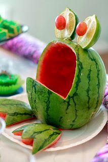 Leap Year Frog Party Food Ideas — The Crafty Woman has lots of good ideas for a reptile-themed party like this Watermelon Frog.