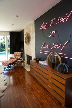 Living Room - Modern Style - Neon Sign - Wall Decor - Home Design