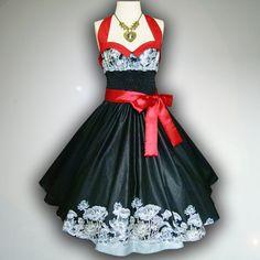 Bunny Black Vintage Lotus 50s Pin up Rockabilly Swing Dress Full Swing Skirt size S-M on Etsy, $39.99
