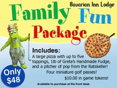 Add the family fun package to any room reservation! www.bavarianinn.com Frankenmuth Bavarian Inn, Frankenmuth Michigan, Room Reservation, Front Desk, Packaging, Restaurant, Fun, Diner Restaurant