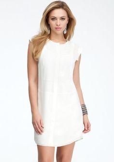 Mixed Fabrics Shirt Dress