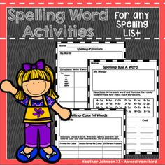 This is a big bundle of spelling activities perfect to use with your own word lists! These are a fun and easy way to get students to practice their spelling words. Perfect for a class work center, individual homework practice, or a weekly homework packet.