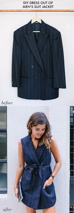 A Pair & A Spare | Before and After: Turn a Suit Jacket Into a Dress