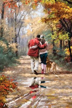 pinturas a óleo Richard McNeil … Thomas Kinkade, Couple Art, Couple Painting, Fine Art, Canvas Artwork, Beautiful Paintings, Oeuvre D'art, Painting & Drawing, Poetry Painting