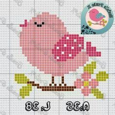 Verschiedene Kreuzstichmuster und Verarbeitungsvorlagen – Sibel Işık – Join the world of pin Baby Cross Stitch Patterns, Cross Stitch Bird, Cross Stitch Animals, Cross Stitch Flowers, Cross Stitch Designs, Cross Stitching, Cross Stitch Embroidery, Embroidery Patterns, Hand Embroidery