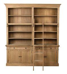 Sarreid Ltd. - Library Bookcase with Ladder - 29277