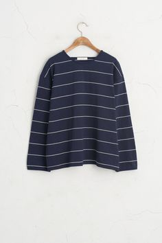 Loose Fit Stripe Tee, Navy, 100% Cotton