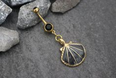 Belly Button Piercing Gold Navel Rings Seashell Belly by MyBodiArt