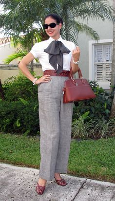Ralph Lauren Cotton Shirt (and Silk Scarf); Ellen Tracy Linen Prince of Wales Pants; Christian Dior Leather & Python Belt; Dooney & Bourke Leather Bag; Joan & David Leather Shoes; House of Harlow Sunglasses; Honora Cultured Pearls.  Professional, polished, but fun!  http://www.akeytothearmoire.com/post/25428142508/academically-tailored