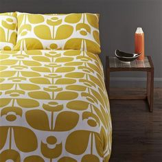 Orla Kiely Wallflower Yellow Duvet Cover Set