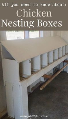 Chicken nesting boxes are an essential in the coop. Instead of having an easter egg hunt every day, all the eggs will be in one spot! Urban Chicken Coop, Chicken Roost, Chicken Garden, Backyard Chicken Coops, Chicken Coop Plans, Building A Chicken Coop, Diy Chicken Coop, Chickens Backyard, Chicken Feeders
