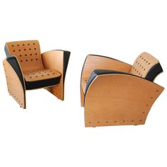 "Extremely Rare Pair of Beech and Rubber ""Crust"" Chairs by Ron Arad, circa 1988 