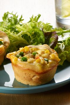 VELVEETA® Quick Chicken Pot Pie Minis – Your kids will be big fans of these perfectly portioned mini chicken pot pies. Simply fill up pre-made biscuit dough with creamy soup, chicken, veggies, and gooey VELVEETA® cheese and enjoy this tasty recipe on your Tapas, Kraft Recipes, Kraft Foods, Quick Meals, Easy Dinners, Chicken Recipes, Chicken Meals, Cheesy Chicken, Chicken Soup