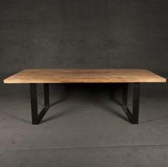 mesa de comedor madera 1.8 mt paraíso con patas de hierro ml