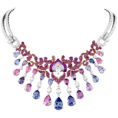 "Van Cleef & Arpels ""Enchanteur"" necklace featuring multicolored spinels, pink sapphires and diamonds from the ""Bals de Legende"" collection, set in 18k white and rose gold"