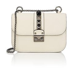 Valentino Women's Lock Small Shoulder Bag (6.665 BRL) ❤ liked on Polyvore featuring bags, handbags, shoulder bags, ivory, shoulder handbags, chain strap shoulder bag, chain strap purse, oversized purses and oversized shoulder bag