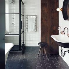 Hexagon zwart mat wand- en vloertegel 17,5 x 20 cm per m2 online bestellen - TEGELinfo
