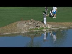 This off-the-rocks ricochet shot ended badly for Zach Johnson on Friday.