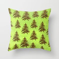 Sparkly Gold Christmas tree on abstract green paper Throw Pillow, #homemadecreations