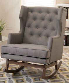 Baxton Studio Gray Iona Mid-century Button-Tufted Rocking Chair | zulily