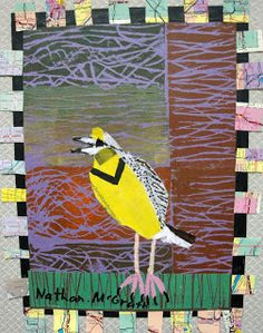 ArtZ KiddoZ blog: Bird made of yellow pages collaged onto printed background. LOVE.