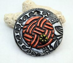 Polymer clay Handmade focal pendant faux metal by Cabinfeverclay