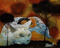 NIGHT WITH CAT - Raphaël VAVASSEUR - Peinture Originale, Original Painting