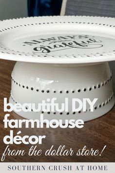 Learn how to make your own DIY farmhouse décor with items from the Dollar Store! In this tutorial I share how to make a beautiful farmhouse tiered tray using only a few supplies from the Dollar Store!  #tieredtray #dollarstore #diy Dollar Tree Decor, Dollar Tree Crafts, 70s Home Decor, Diy Home Decor Projects, Dollar Store Hacks, Dollar Stores, Inexpensive Home Decor, Cheap Home Decor, Decorating Your Home