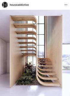Two flights of stairs flow seamlessly into one another in this sleek sculptural staircase designed by Mexican architecture studio Arquitectura en Movimiento. Architecture Design, Contemporary Architecture, Amazing Architecture, Staircase Architecture, Garden Architecture, Modern Contemporary, Biophilic Architecture, Natural Architecture, Dubai Architecture