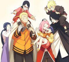 Todos (Naruto,Hinata,Sakura, Sasuke,Boruto,Himawari e Sarada!) Uma grande família!