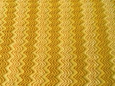 Rich Golden Cabin Crafts Chenille Zigzag Bedspread Fabric * Measures 22 x 23 inches.  * Medium weight, in excellent vintage condition.   Warm Gold background with golden caramel and soft butterscotch yellow zigzag Chevron pattern. A bright color and fun pattern ideal for sewing, quilting, and crafts projects. The fabric has been soaked with care and freshly laundered using fragrance-free products, so there are no strong perfume odors and, of course, our shop is smoke-free.  In regard to…