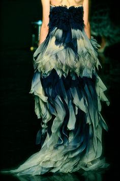 Navy Blue Tiered Ruffle Gown Dress Couture Fashion Catwalk Runway