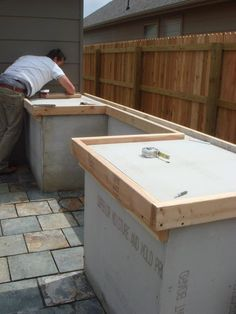 DIY Concrete countertop for outdoor cooking spot