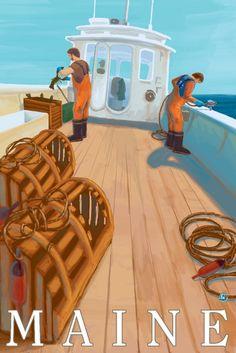 Maine - Lobster Fishing - Lantern Press Artwork