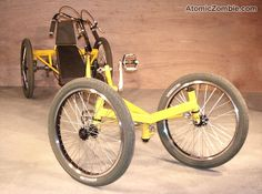 BMX wheels add durability to this quadcycle.