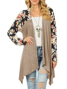 1167aea673 Saodimallsu Womens Floral Loose Kimono Cardigan Casual Boho Long Sleeve  Open Front Blouse Tops Outwear -