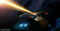 Hammering a Dreadnought (With Effect) by AL-Proto Star Trek Wallpaper, Star Trek Starships, Sci Fi Shows, Star Trek Ships, Star Trek Universe, Star Trek Voyager, Planet Of The Apes, Spaceship, Science Fiction